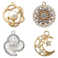 Glass Pearl Zinc Alloy Pendants