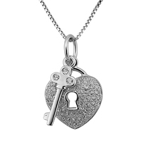 Cubic Zircon Micro Pave Sterling Silver Necklace