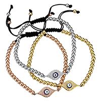 Evil Eye Connector Woven Ball Bracelets
