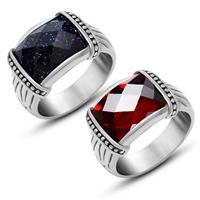 Gemstone Stainless Steel Finger Ring